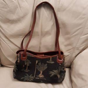 Tommy Bahama Tropical Print Canvas & Leather Bag